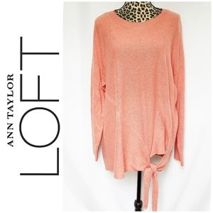 NWT Loft Coral Long Sleeve Sweater w/Tie Front